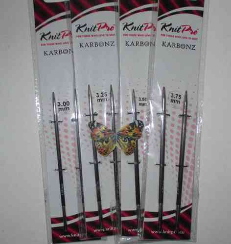 KnitPro KARBONZ Nadelspitzen, normal - 3 mm - 3,75 mm